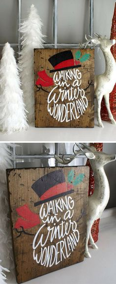 Walking In A Winter Wonderland Snowman Rustic Wooden Sign | Hand Lettered Hand Drawn | Christmas Sign | Winter Sign | Gift Idea #christmasdecor #ad #christmasideas