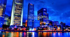 """""""City Skyline Singapore"""" by William Yee Khai Teo, Singapore // City Skyline SingaporeSingapore River // Imagekind.com -- Buy stunning fine art prints, framed prints and canvas prints directly from independent working artists and photographers."""