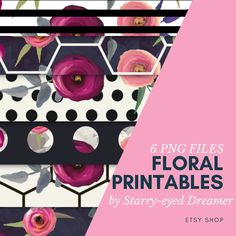 Floral Printables, The Dreamers, My Etsy Shop, Digital, Unique Jewelry, Handmade Gifts, Vintage, Art, Kid Craft Gifts