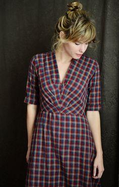 1940's Dress // BurgundyNavy Plaid by LetsBacktrack on Etsy