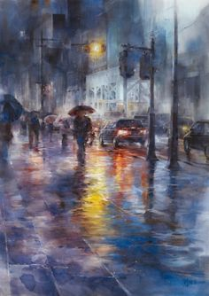 Rainy-cityscape.-Watercolor-painting-by-Chinese-artist-Ching-Che-Lin-16.jpg (500×708)
