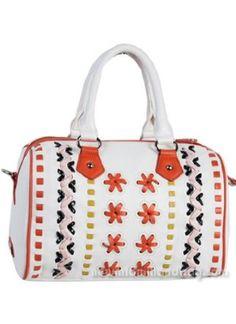 Nicole Lee Handbag Cui Stiched Flowers Boston Bag White,