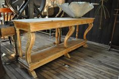 Antique French Shop Counter Console Draper Table in Pine