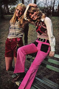 Corduroy jeans in pink and brown. Seventeen Magazine, July 1971.