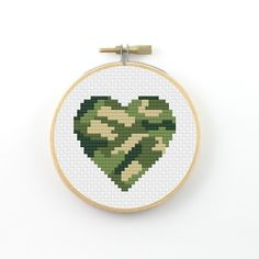Camouflage heart cross stitch pattern army print heart by ringcat