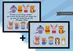This is a parody, an inspirational cross stitch pattern of the cartoon Winnie the Pooh, featuring: Eeyore, Winnie the Pooh, Piglet, Tigger, and then Kanga and Roo, Christopher Robin, Rabbit and Owl. THIS PATTERN HAS TWO VERSIONS THAT YOU CAN SEE IN THE SECOND IMAGE 1 - Pattern + quote 2 - Pattern Feel free to download both and choose later! CROSS STITCH PATTERN DETAILS - PATTERN + QUOTE: Stitches: 96x82 Size (with 14 count Aida fabric): 17x15 cm – 6.7x5.9 in CROSS STITCH PATTERN DETAILS…