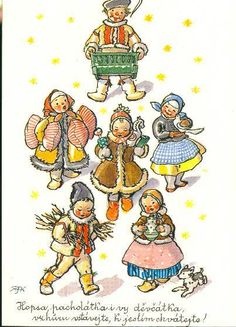 Old Czech Christmas card Fairy Tales, Art Photography, Christmas Cards, Seasons, Comics, Retro, Illustration, Pictures, Czech Republic