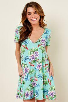 Story Lei Low Aqua Print T Shirt Dress at reddressboutique.com