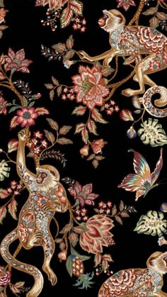 Vintage Wall Art, Vintage Prints, Wallpaper S, Wallpaper Backgrounds, Tropical Animals, Texture Art, Textile Prints, Flower Prints, Illustrations