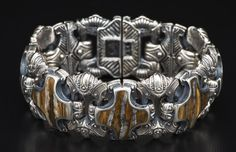 Sterling Silver bracelet inlaid with 10,000 year-old fossil Woolly Mammoth tooth. And a nod to #GameOfThrones