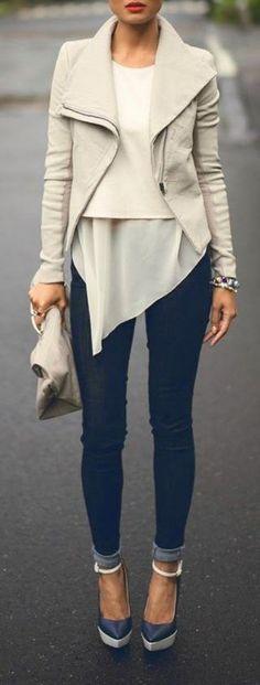 Beige Plain Irregular Turndown Collar Cardigan Leather Coat