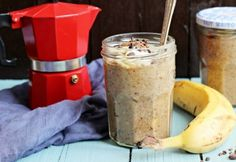 Vegan Lunch Box Ideas - As Requested! X Chocolate Coffee Banana Overnight Oatmeal! Jam Recipes, Coffee Recipes, Cooking Recipes, Breakfast Crockpot Recipes, Brunch Recipes, Chia Puding, Chocolate Overnight Oats, Vegan Lunch Box, Banana Coffee