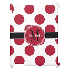 Red Black White Big Polka Dot Monogram Case For The iPad 2 3 4