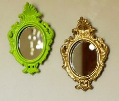 GOLD & CHARTREUSE Wall Mirrors in Vintage ROCOCO by BonVieuxTemps, $22.00