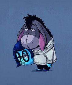 """Por baixo da Tristeza, do filme """"Divertida Mente"""", quem vive é o também triste Bisonho, o burrinho da turma do """"Ursinho Pooh""""."""