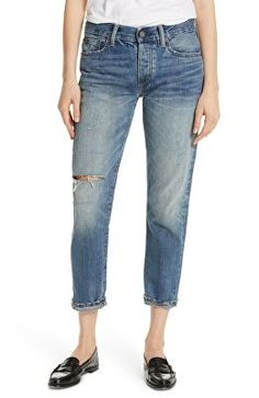 Cropped jeans cut with a touch of boyish slouch have the look of an old favorite in soft, faded denim with a rip above the knee and other distressing. Best Boyfriend Jeans, Mom Jeans, Ralph Lauren Womens Clothing, Cropped Jeans, Spring Outfits, Polo Ralph Lauren, Nordstrom, Teenage Hair, Clothes For Women