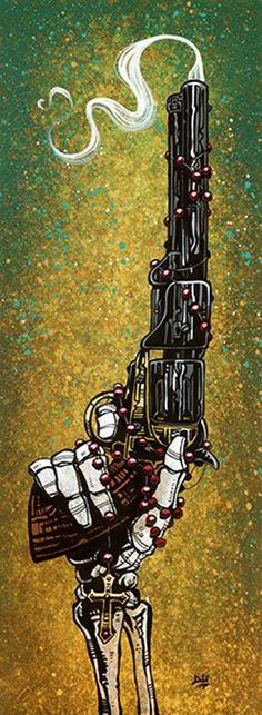 lead by god by david lozeau skeleton rosary revolver western canvas art print alternative artwork wall-decor wild-west