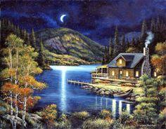 "John Zaccheo - ""Moonlit Cabin"""