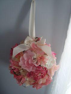 Fancy Fabric Flower Pomander :  wedding diy fabric flower flower girl glue gun pomander DSC01543