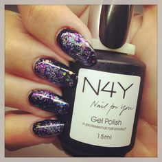Galaxy negle, glimmer negle, lavet af Annesofie med Nail4you negle produkter.