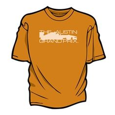 THE AUSTIN GRAND PRIX in Texas Orange with natural (beige/off-white) print/text $19.99
