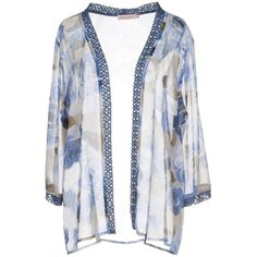 Gocce Di Elena® Cardigan featuring polyvore, women's fashion, clothing, tops, cardigans, blue, floral print cardigan, blue top, floral lace cardigan, lace sleeve top and lace sleeve cardigan