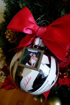 Wedding Invitation Christmas ornament WITH PHOTO, Just married, Mr and Mrs, first christmas, Christmas ornament made with your invite. $30.00, via Etsy.