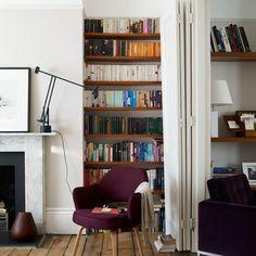'Living room corner - Sunny Brighton home' Living Room Shelves, My Living Room, Home And Living, Living Spaces, Bookshelves Around Fireplace, Bookshelves Built In, Bookcase, Cheap Office Decor, Cheap Home Decor