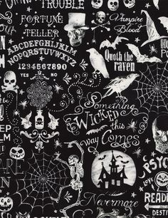 Halloween Chalkboard Fabric BY-THE-HALF-YARD; Timeless Treasures; C4680; Wicked #TimelessTreasuresFabric