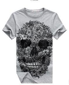 a3bf08e2aa3 E-BAIHUI brand mens short t shirts Skull t shirt men Hip Hop Men T-shirt  Casual tops tees Swag marcelo burlon t-shirts