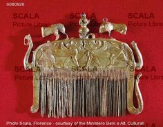 Etruscan ~ Comb with sphinx motifs, from Marsiliana ~ Archaeological Museum City ~ Florence ~ Italy ~ Etruscan ~ Minor arts ~ Photo: Scala, Florence ~ courtesy of the Ministero Beni e Att. Ancient Romans, Ancient Art, Ancient History, Mycenaean, Minoan, Vikings Live, Roman Names, Archaeological Finds, Call Art