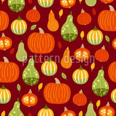 Pumpkins And Autumn Leaves Vector Ornament Vector Pattern, Pattern Design, Leaves Vector, Warm Colors, Surface Design, Autumn Leaves, Pumpkins, Ornaments, Patterns