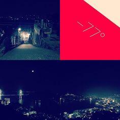 Instagram【yossy_aquarius】さんの写真をピンしています。 《#こんばんは 深夜になりました🌛 昨夜は山間部攻めをしてきました🏃走ったり、歩いたり🚶😁 鍋冠山まで登り 〜 きゃあまぐる坂まで。鍋冠山から観る夜景は長崎市内の街を見下ろす事ができるベストスポット!きゃあまぐる坂は斜度がマイナス77度と有名な急坂でこの坂、全長150mの2往復を走り込んでみましが、、、息はあがるわ、膝はガクガクするわと恐ろしい坂でした😂また筋力とスタミナをつけてリベンジしたい😅 #ランニング#ウォーキング #夜景#坂》