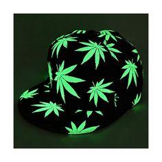 90d2c7eb277 Luminous Snapback Baseball Cap Glow In The Dark Cap Night Glow Hip-hop  Rasta Weed Leaf Pot Flat Bill Baseball Hat