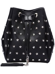 Shop Black Drawstring Star Chain Bucket Bag online. SheIn offers Black Drawstring Star Chain Bucket Bag & more to fit your fashionable needs.