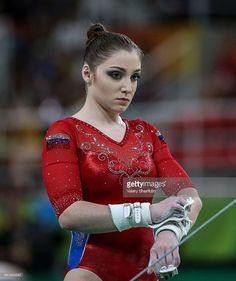 Olympics makeup! Russian Aliya Mustafina during the artistic gymnastics women's team final at the Rio 2016 Summer Olympic Games, at the Rio Olympic Arena. Valery Sharifulin/TASS
