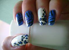 Blue animal print manicure