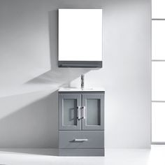 Wade Logan Duke Single Bathroom Vanity Set with Mirror Base Finish: Gray, Faucet Finish: Polished Chrome Bathroom Vanity Cabinets, Single Bathroom Vanity, Small Bathroom, Bathroom Vanities, Bathroom Ideas, Single Vanities, Sinks, Bathrooms, Brushed Nickel Faucet