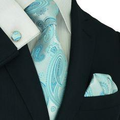 Baby Blue Paisley Necktie Set JPM187