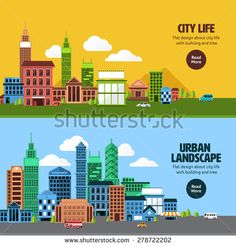 Flat design concept city landscape have sky, tree, road, and building.Vector illustrate. - stock vector