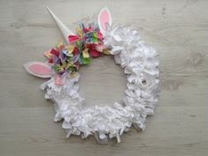 Unicorn fabric wreath mystical wall hanging magical creature