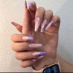Bling Acrylic Nails, Acrylic Nails Coffin Short, Summer Acrylic Nails, Best Acrylic Nails, Acrylic Nail Designs, Dope Nail Designs, Bling Nail Art, Purple Nail Art, Chic Nails