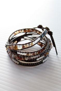 Botswana Agate + Leather Wrap Bracelet from Chan Luu at Rosie True