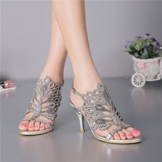 58.10$  Watch here - http://alidyo.worldwells.pw/go.php?t=32599841987 - Women's Summer Fashion Diamond Silver High-heeled 8cm Stiletto Sandals Female Luxury Shoes Sale Online 58.10$