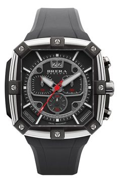 Free shipping and returns on Brera 'Supersportivo' Square Chronograph Rubber Strap Watch, 44mm x 46mm at Nordstrom.com. Three chronograph eyes and a rotating date window add handy function to a head-turning watch handcrafted with a boxy case and a molded silicone strap.