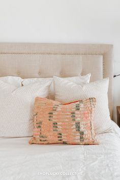 One-of-a-kind upcycled Moroccan kilim pillow made from vintage rugs. Lucky Collective Silk Pillow, Lumbar Pillow, Wool Pillows, Bed Pillows, Moroccan Home Decor, Orange Throw Pillows, Floor Cushions, Home Decor Inspiration, Pillow Inserts