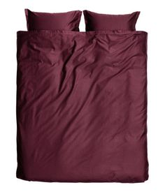 Burgundy. PREMIUM QUALITY. King/queen duvet cover set in washed cotton satin. Duvet cover fastens at foot end with concealed metal snap fasteners. Two