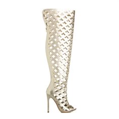 This cutout design, metallic thigh-high boot is a statement piece for an OOTD or an OOTN #ShoeDazzle
