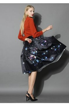 Bubbles Shining in Dark Midi Skirt - Retro, Indie and Unique Fashion