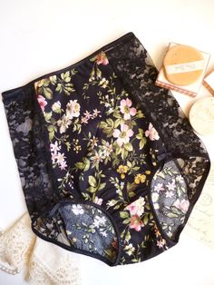Womens Romantic High Waist Panties Lingerie in Black & Pink Floral Bohemian Retro Made to Order
